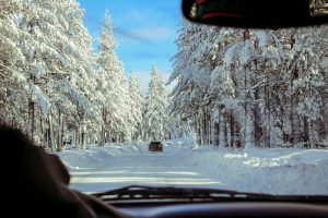 safe winter driving on a snow covered road